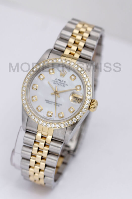 Rolex Ladies Midsize Datejust 18k Gold Steel Mop Diamond Dial & Bezel Jubilee 2y