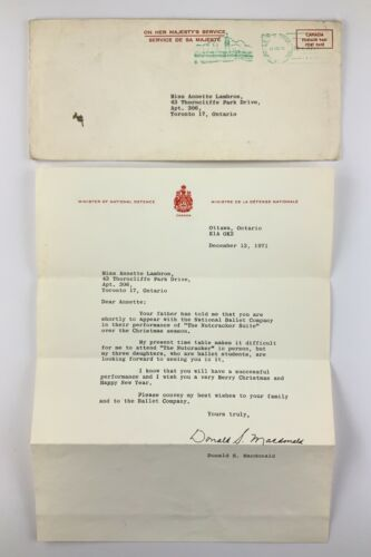 1971 Letter From Minister Of National Defence Donald S Macdonald Canada 825A