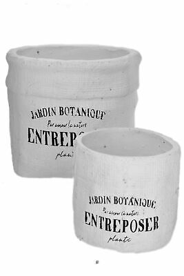 - Set 2 Round Jardin Botanique Distressed French Style White Planters Flower Pots