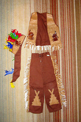 VINTAGE 60's 70's CHILDS WARRIOR CHIEF, INDIAN, HALLOWEEN COSTUME, SUPER CUTE