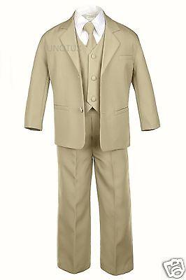 5pc Set Baby Toddler Child Kid Teen Boy Formal Wear Khaki Taupe Tuxedo Suit S-20