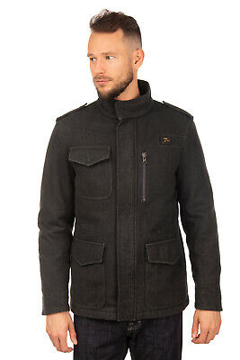 RRP €545 FAY Wool Jacket Size L Padded Shoulder Tabs Funnel Neck Made in Italy