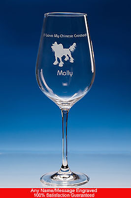 Chinese Crested Dog Gift Personalised Engraved Fine Quality Wine Glass