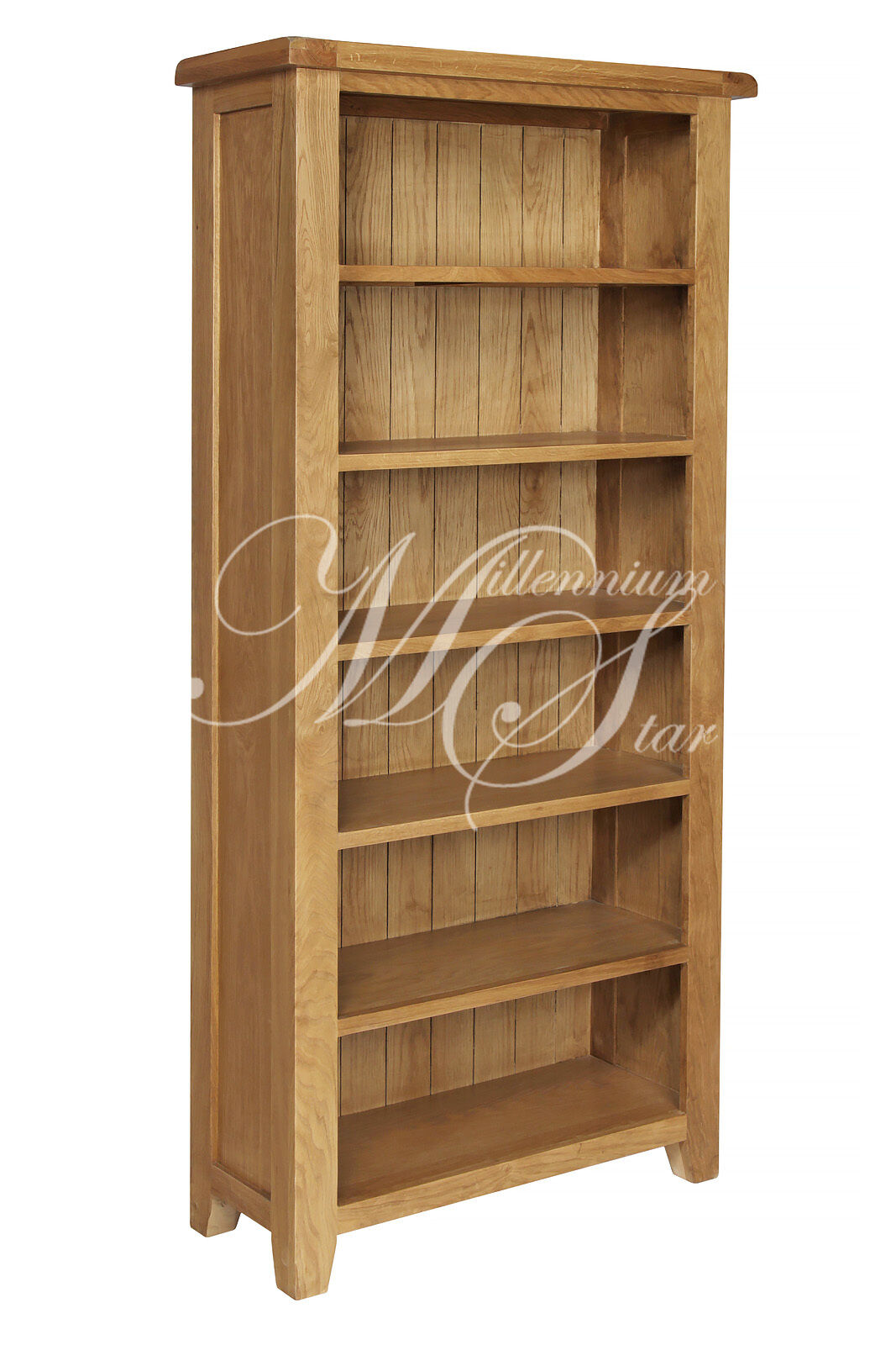 Solid chunky wood rustic oak large open bookcase display