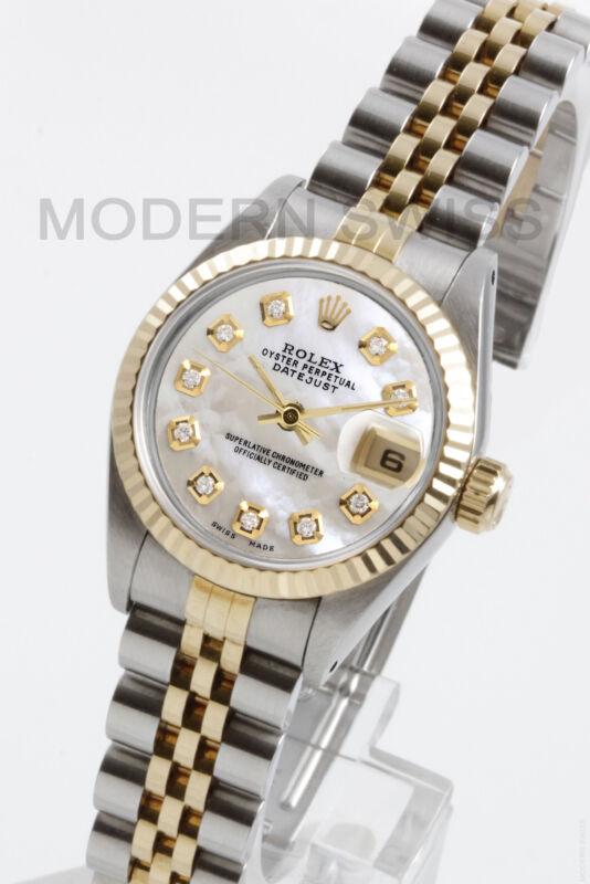 Rolex Ladies Datejust 18k Gold & Steel White Mop Diamond Jubilee 69173 Quickset