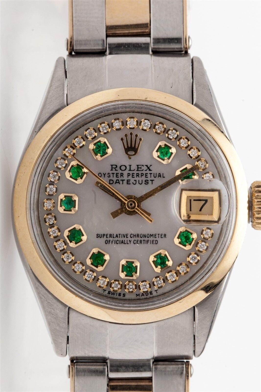 $2200.00 - $7000 14k Yellow Gold SS Rolex Ladies Datejust Emerald Diamond Watch BOX & WTY