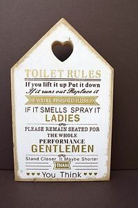 Toilet Rules Wooden Plaque Sign Bathroom Funny Home Humor Gift Christmas