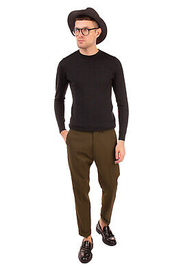 RRP €115 BE ABLE Flat Front Trousers Size 33 Zip Fly Cropped Made in Italy