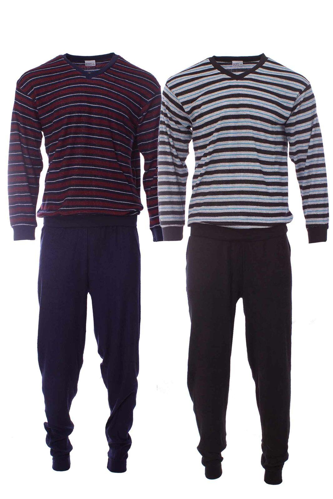 Herren Infinity Man Frottee Pyjama Schlafanzug Langarm Oberteil + lange Hose NEU