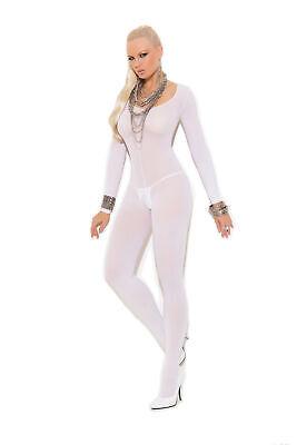 n L XL weiss  Damen Body Teddy Overall Ganzanzug rundhals (Langarm-catsuit)