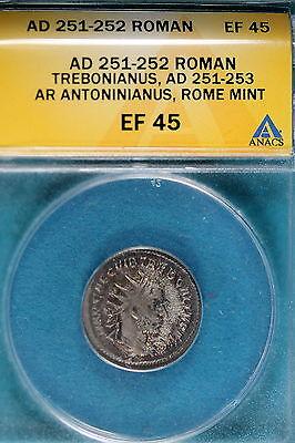 AD251-252 ANACS EF45  Roman Trebonianus Rome Mint! #B7742