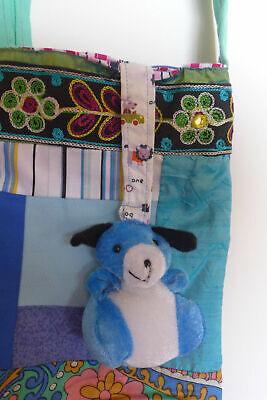 Mädchen Tasche handgemachte gesteppte Baumwollstoffe Geldbörse Blues mit... - Mädchen Gesteppte Geldbörse