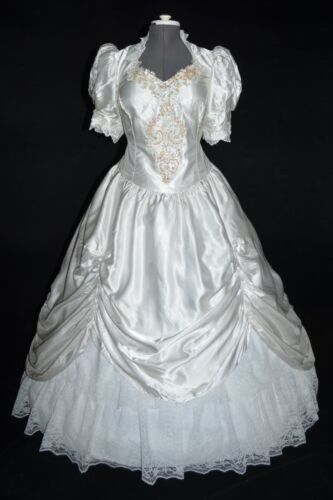 Union Made Vintage 80s White Satin Southern Belle Wedding Dress w/ Train sz 18