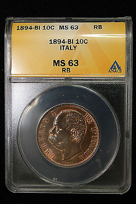 Click now to see the BUY IT NOW Price! 1894 B/I ITALY. 10 CENTISIMI.  ANACS GRADED MS 63.