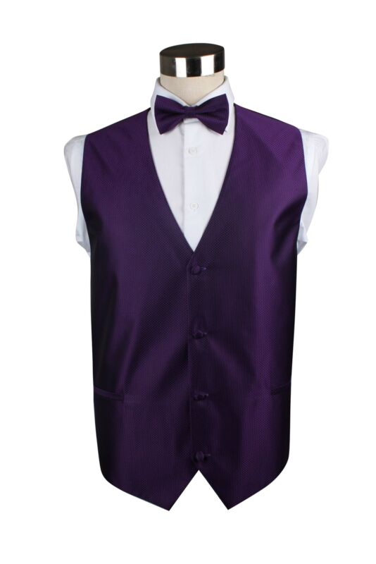Mens Purple Checkered Patterned Vest Waistcoat & Matching Bow Tie