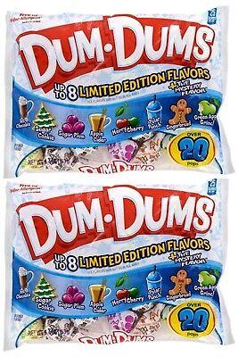 2X Bags Dum Dums Christmas Pops Variety Flavor Candy 10.4oz Gluten Free, X-2021 - Dum Dums Flavors
