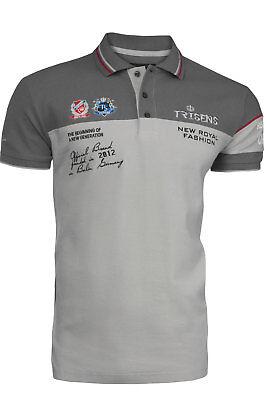 a8b1ee9951559c Trisens Herren Sommer Poloshirt T-Shirt Hemd Stickerei Baumwolle Party GRAU  L