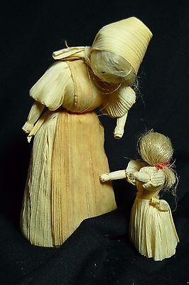 Lot of 2 Vintage Corn Husk Dolls Mother and Child