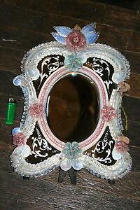 Miroir murano v nitien verre soufl de couleur rose bleu for Miroir venitien murano