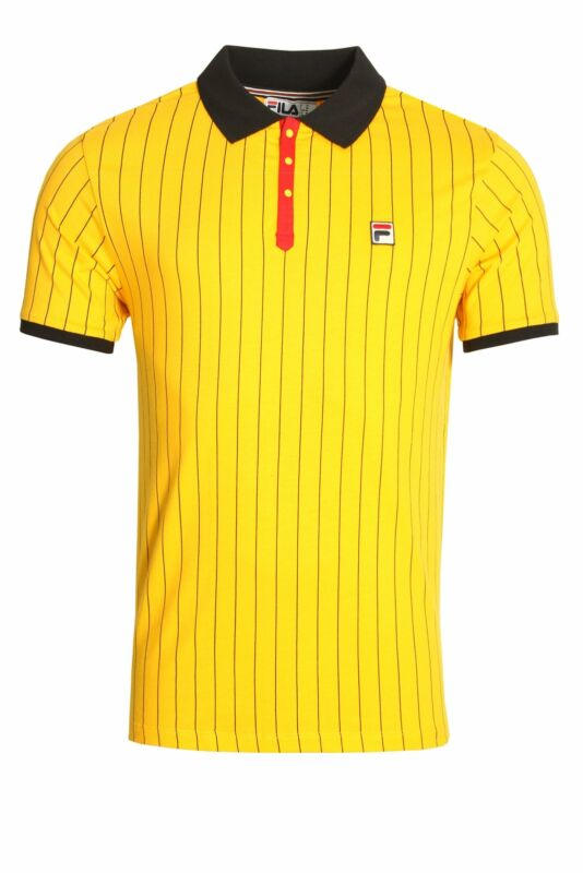 Mens Polo FILA VINTAGE BB1 Polo Shirt | Gold Fusion/Black/Chinese Red