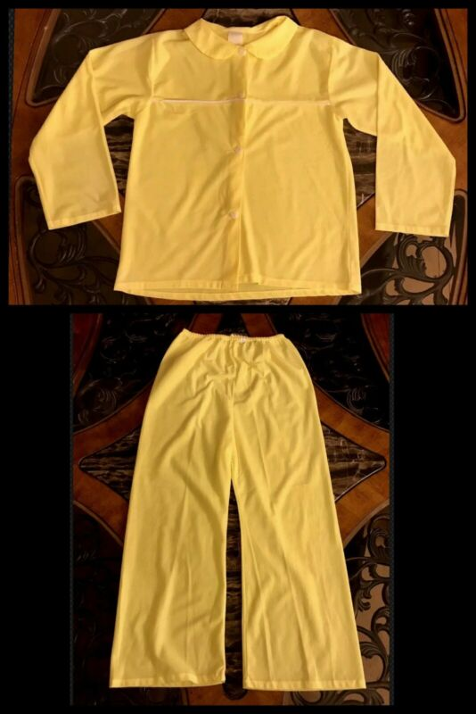 Vintage Girls Pajamas Yellow 2 Piece Buttons Top Pants Long Sleeve 1980s 7 / 8