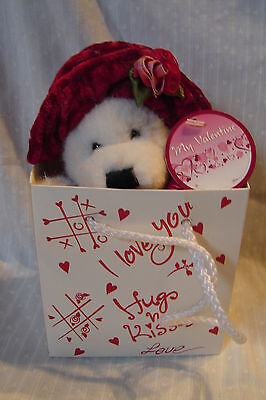 Soo Sweet! DanDee Valentine Bear Faux Crushed Red Velvet Hat w/Gift Bag & Tags (Valentines Tag Hat)