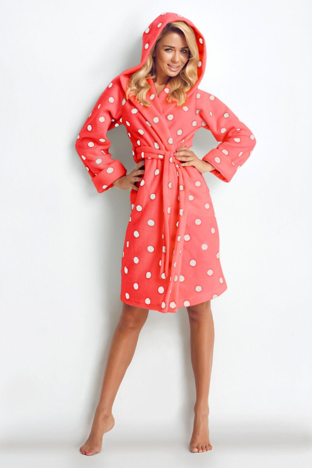 New Womens PolkaDot Knee Length Dressing Gown Bathrobe Housecoat UK ...