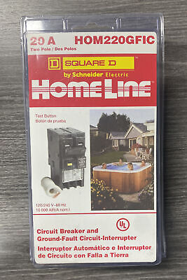 Square D Hom220gfic Homeline 20 Amp Two-pole Gfci Circuit New Sealed