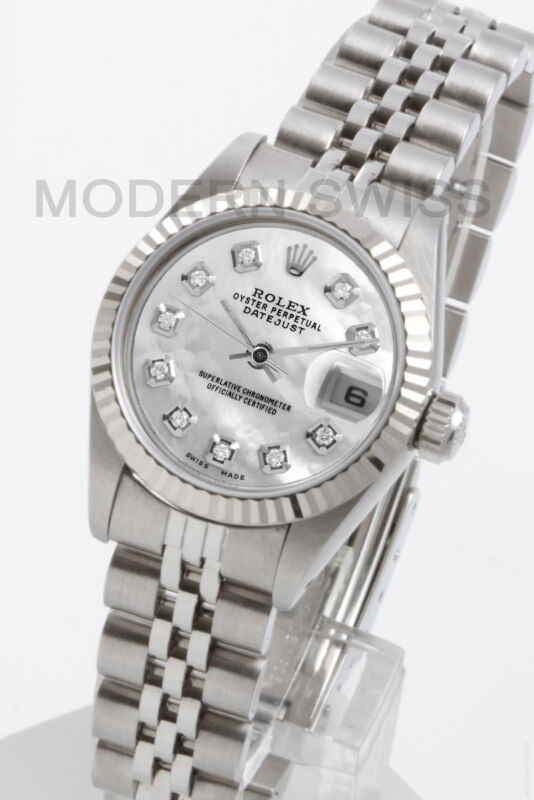 Rolex Ladies Datejust Steel White Mop Diamond Dial & 18k Gold Fluted Jubilee