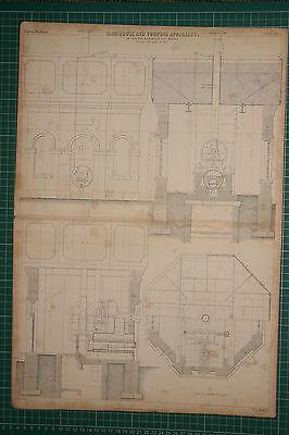 1855 LARGE LOCOMOTIVE PRINT ~ TANK HOUSE & PUMPING APPARATUS CARRETT MARSHALL