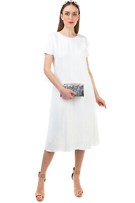 RRP €1430 THE ROW Midi A-Line Dress Size 40 / L Ivory Short Sleeve Made in USA