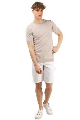 PAOLO PECORA Jumper Size XL Silk Blend Thin Knit Short Sleeve Crew Neck
