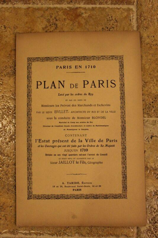 Antique 1900 A. Taride Paris in 1710 Plan de Paris connecting map 12 plates