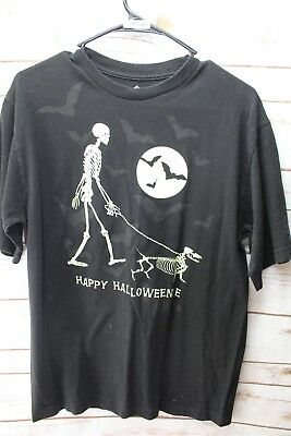 Happy Halloweenie Skeleton Halloween Medium Black Graphic Tee Men's Shirt