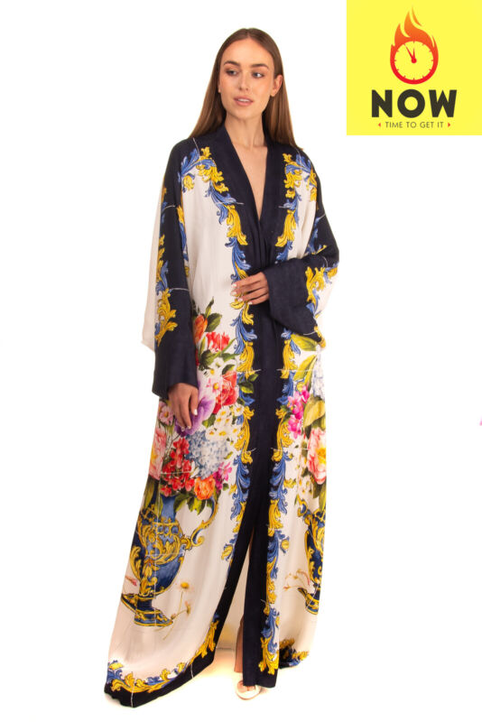RRP €4145 DOLCE & GABBANA Kaftan Gown Size IT 46 / L Silk Blend Majolica Print