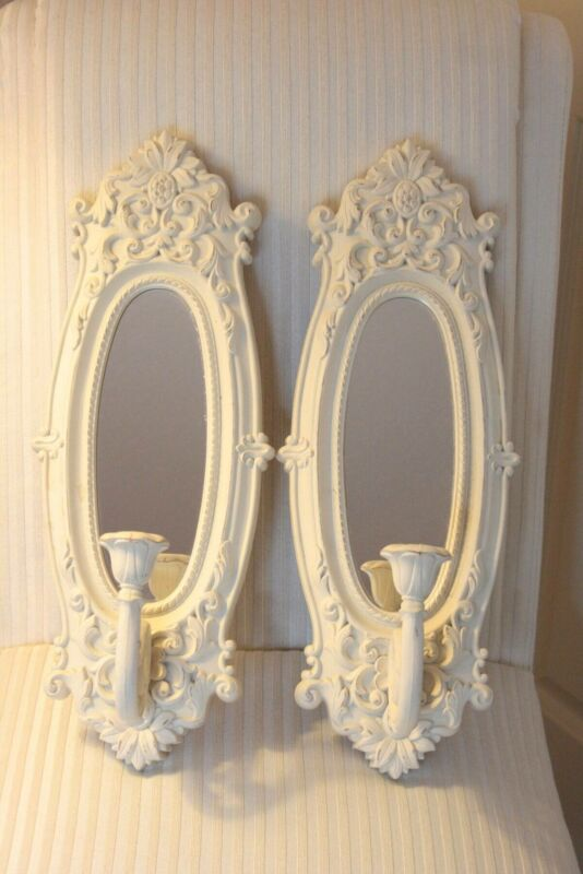 Vintage Off White Home Interior Shabby Cottage Chic Wall Mirrored Candle Sconce