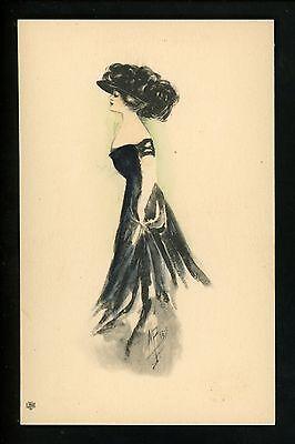 Reis Hat (Artist Signed Vintage postcard M. Reis, Figure ser. R5 Woman hat 1910)