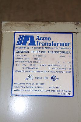 Acme General Purpose Transformer 1.5 Kva 1 Phase 60hz