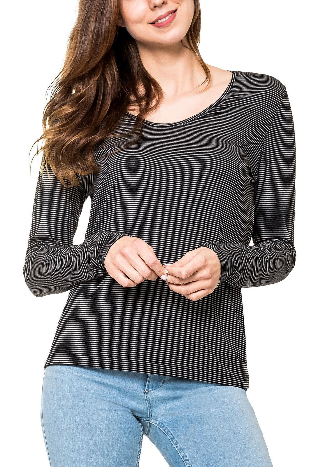 Pieces Damen Langarmshirt Shirt Stretch Basic Damenshirt Damentop Longshirt Top