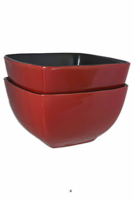 Set 2 Vintage Red & Black Large 28oz Stoneware Squared-off Soup Cereal Bowls ()