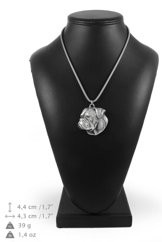 American Bulldog - silver plated necklace on silver cord, Art Dog USA