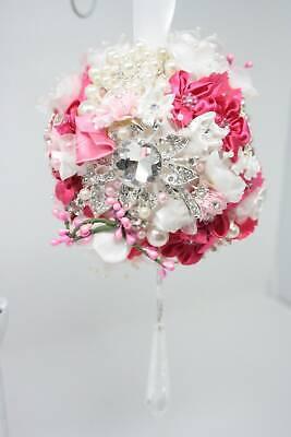 Crystal Rhinestone Pomander Kissing Ball Shabby Cottage Chic Pink Fuchsia
