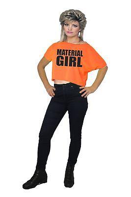 Womens 1980's Neon Orange Material Girl Madonna 80's T-shirt ()