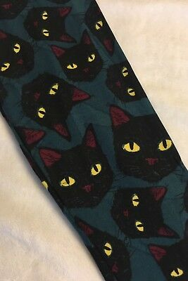 Kids L/XL LuLaRoe Halloween Leggings Black Cat Faces Yellow Eyes 3033 - Black Cat Faces Halloween