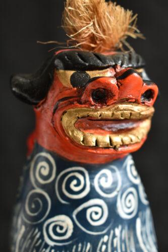 Japanese Old Clay Bell Dorei : design Shishimai : made in Hidatakayama