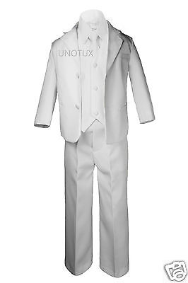 Kid Teen Boy Wedding Party First Communion Formal Tuxedo 5pc Suit Set White 8-20 - First Communion Suit Boy