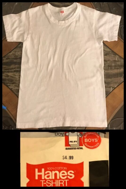 Vintage Hanes Boys T Shirt White Crew Hippy Biker Cotton Kids 1970s NEW 10 / 12