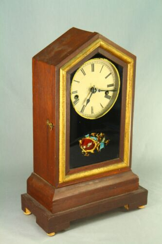!Antique E. INGRAHAM & Co WATERBURY Alarm Shelf Mantel Clock Reverse Glass Paint