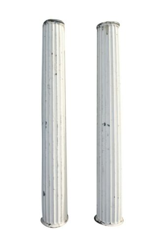 Tall Antique Fluted Galvanized Metal Columns, 110 Inches Tall