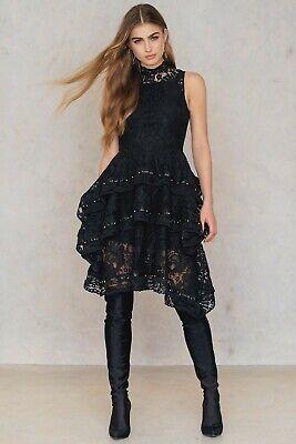 Keepsake The Label Star Crossed Lace Dress S Beaded Layered Ruffle Sleeveless